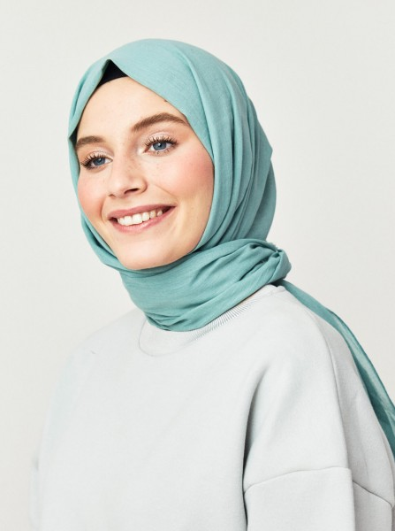 Cotton Voile Shawl Water Green - Thumbnail