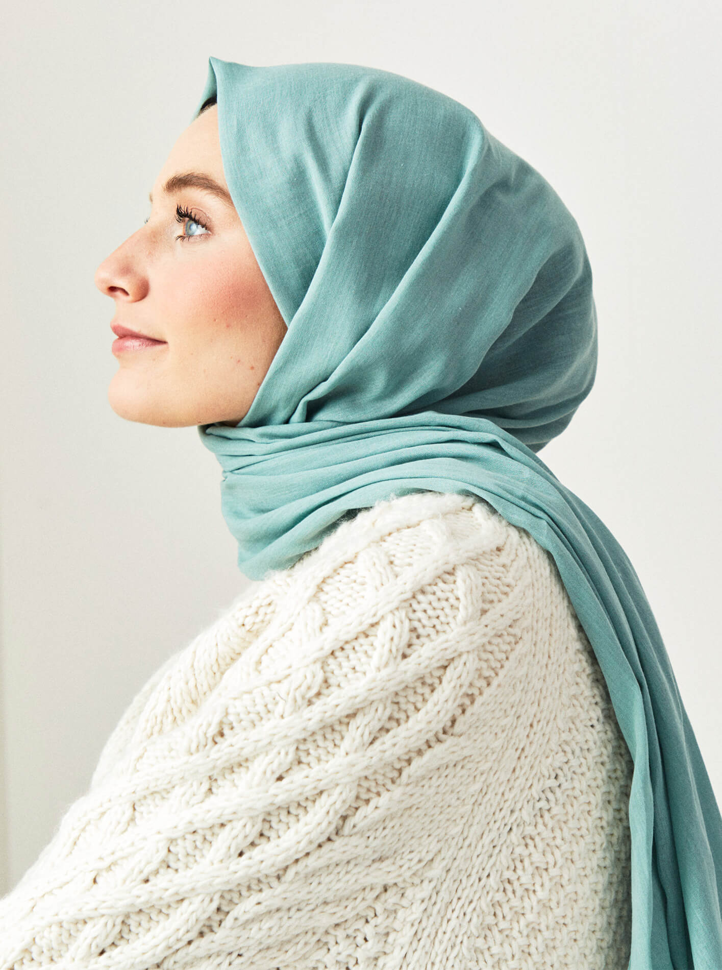 Cotton Voile Shawl Water Green
