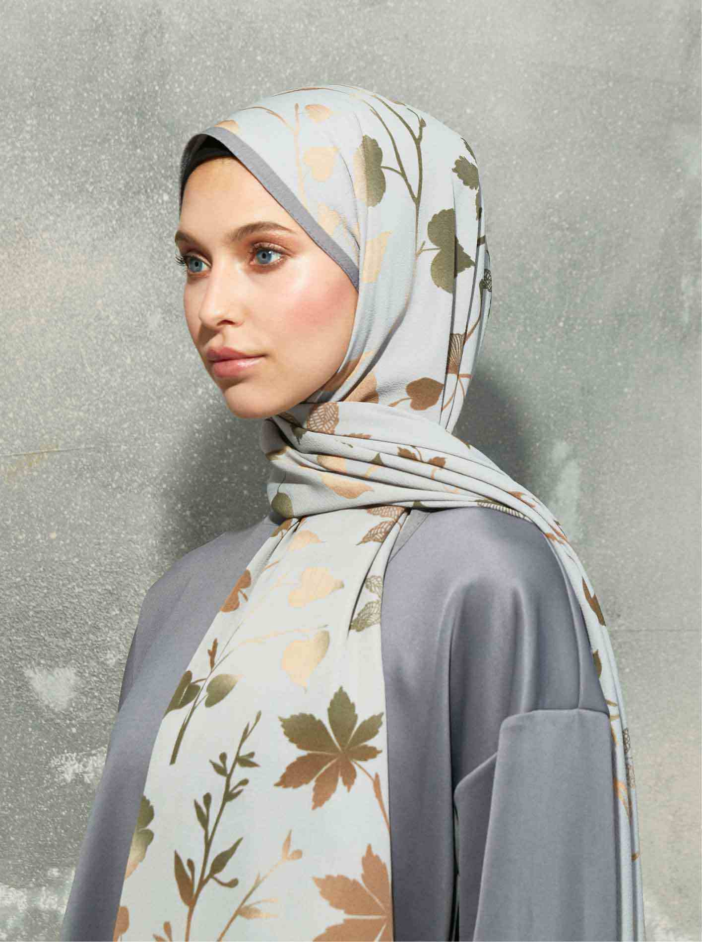 Flora Series Autumn Branches Patterned Shawl Gray