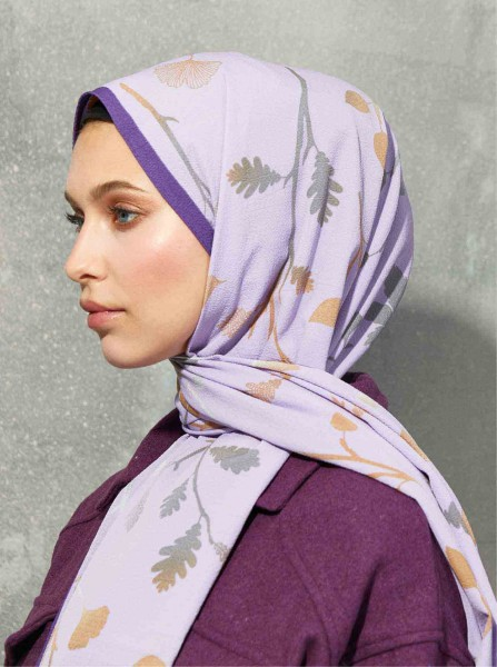 Flora Series Autumn Branches Patterned Shawl Purple - Thumbnail