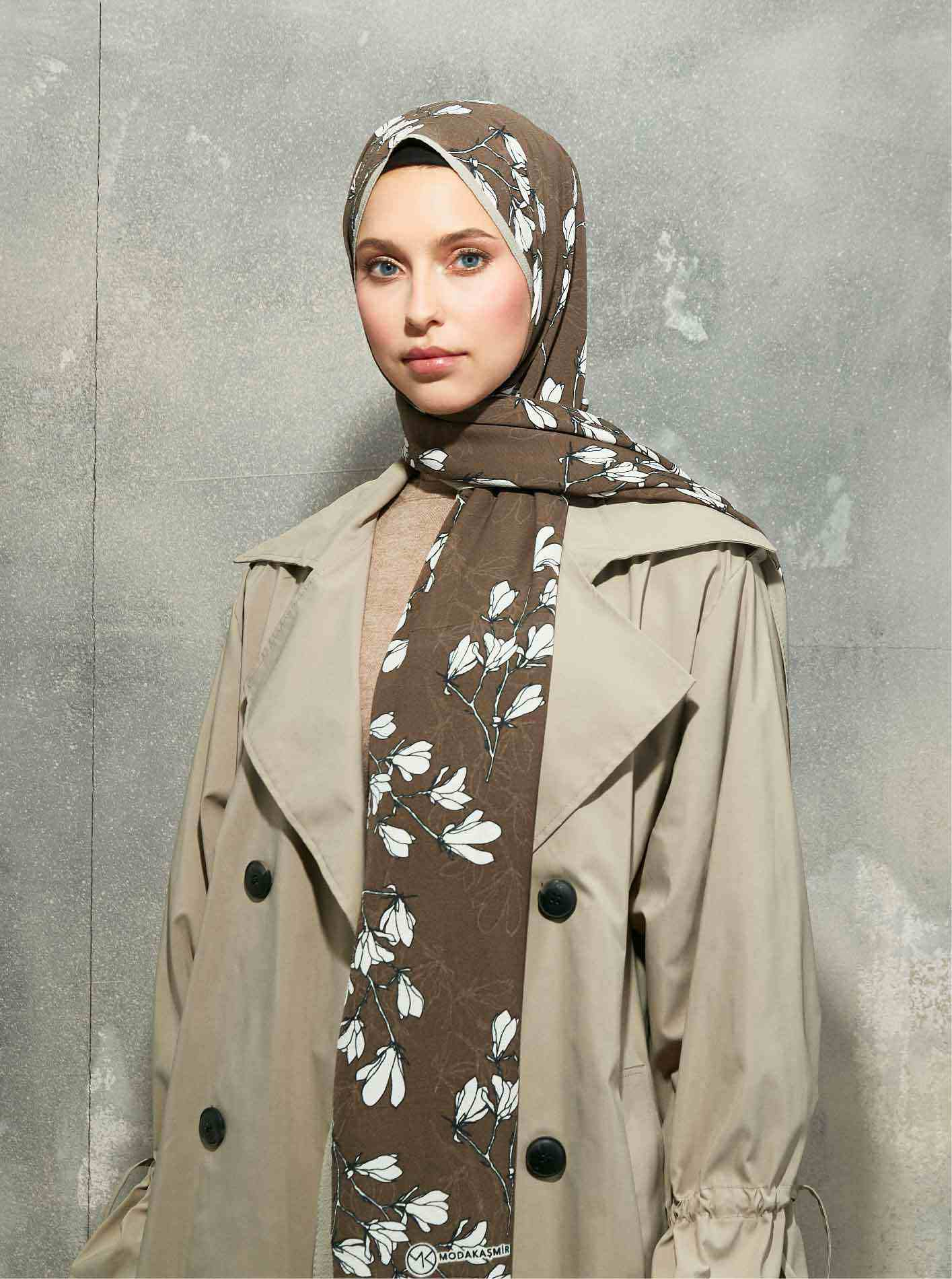 Flora Series Azelea Patterned Shawl Brown