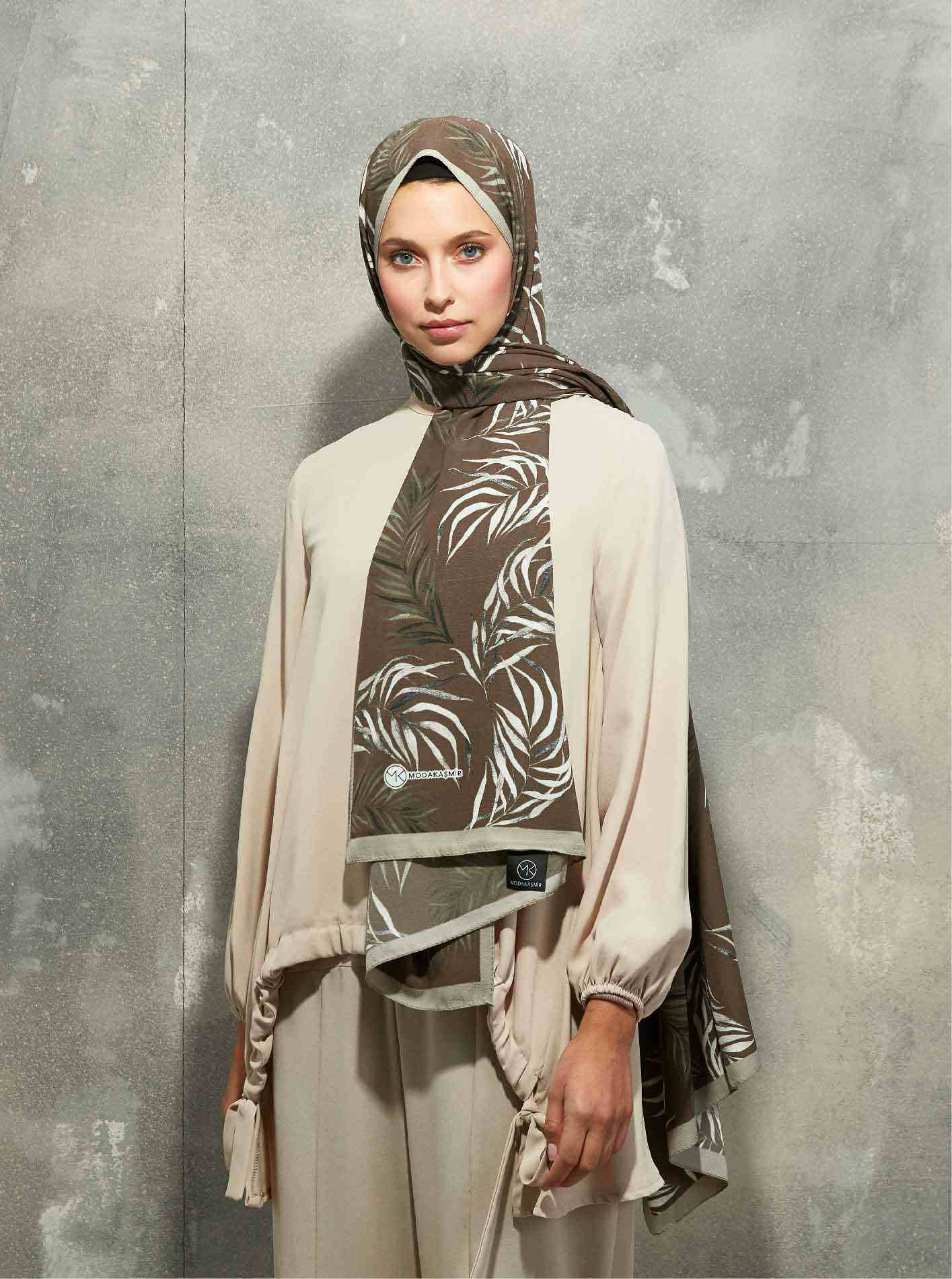 Flora Series Botanical Branches Patterned Shawl Brown