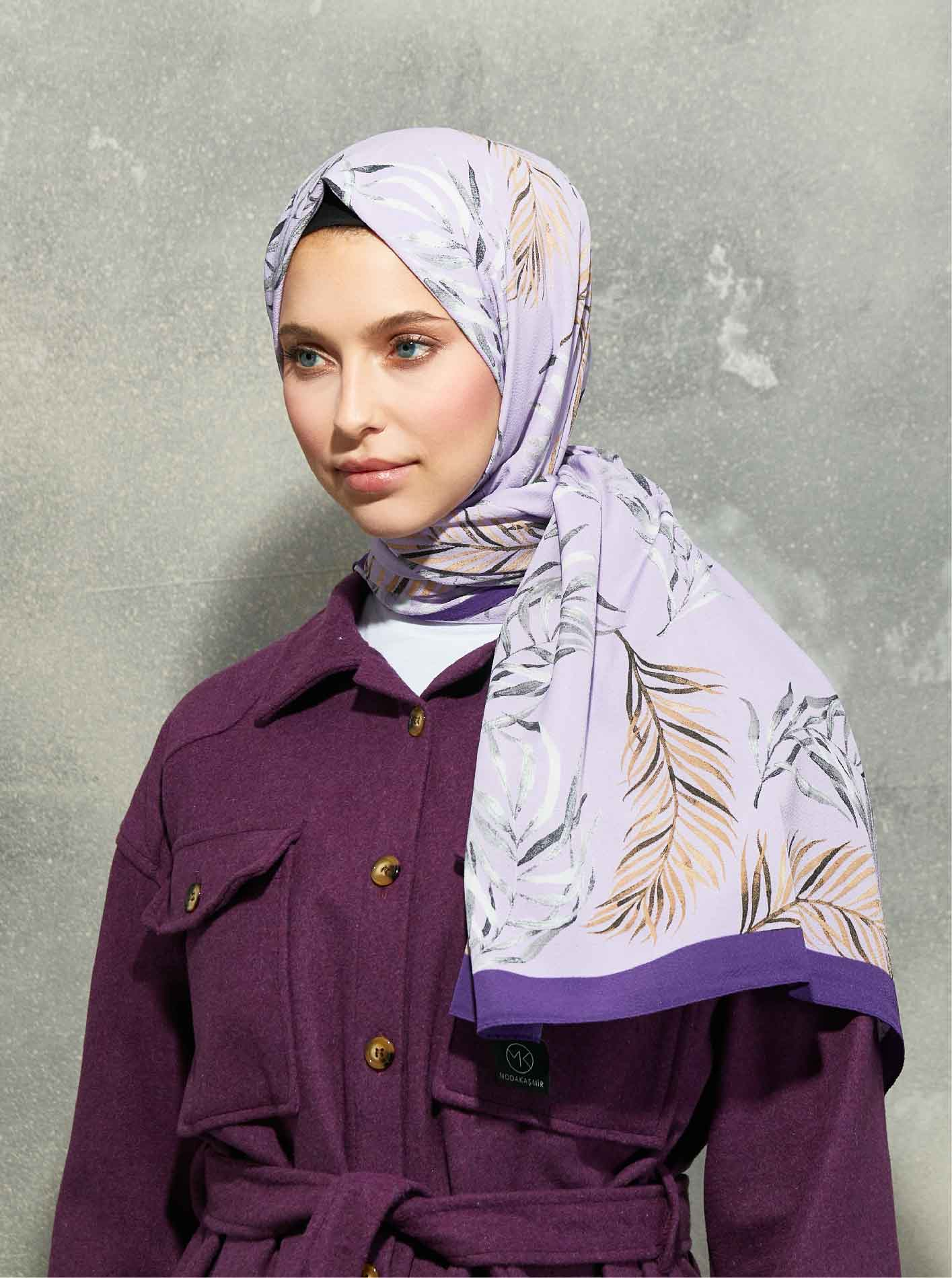 Flora Series Botanical Branches Patterned Shawl Purple