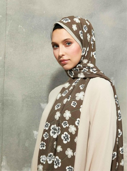 Flora Series Cherry Blossom Patterned Shawl Brown - Thumbnail