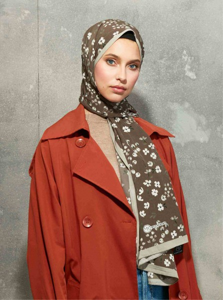 Flora Series Meadow Flowers Patterned Shawl Brown - Thumbnail