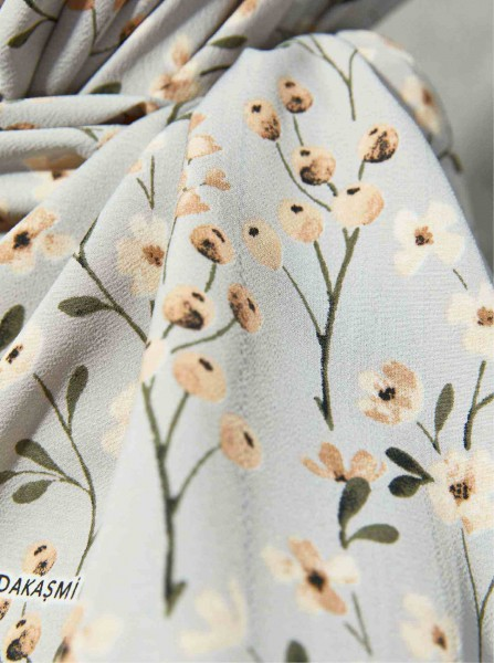 Flora Series Meadow Flowers Patterned Shawl Grey - Thumbnail