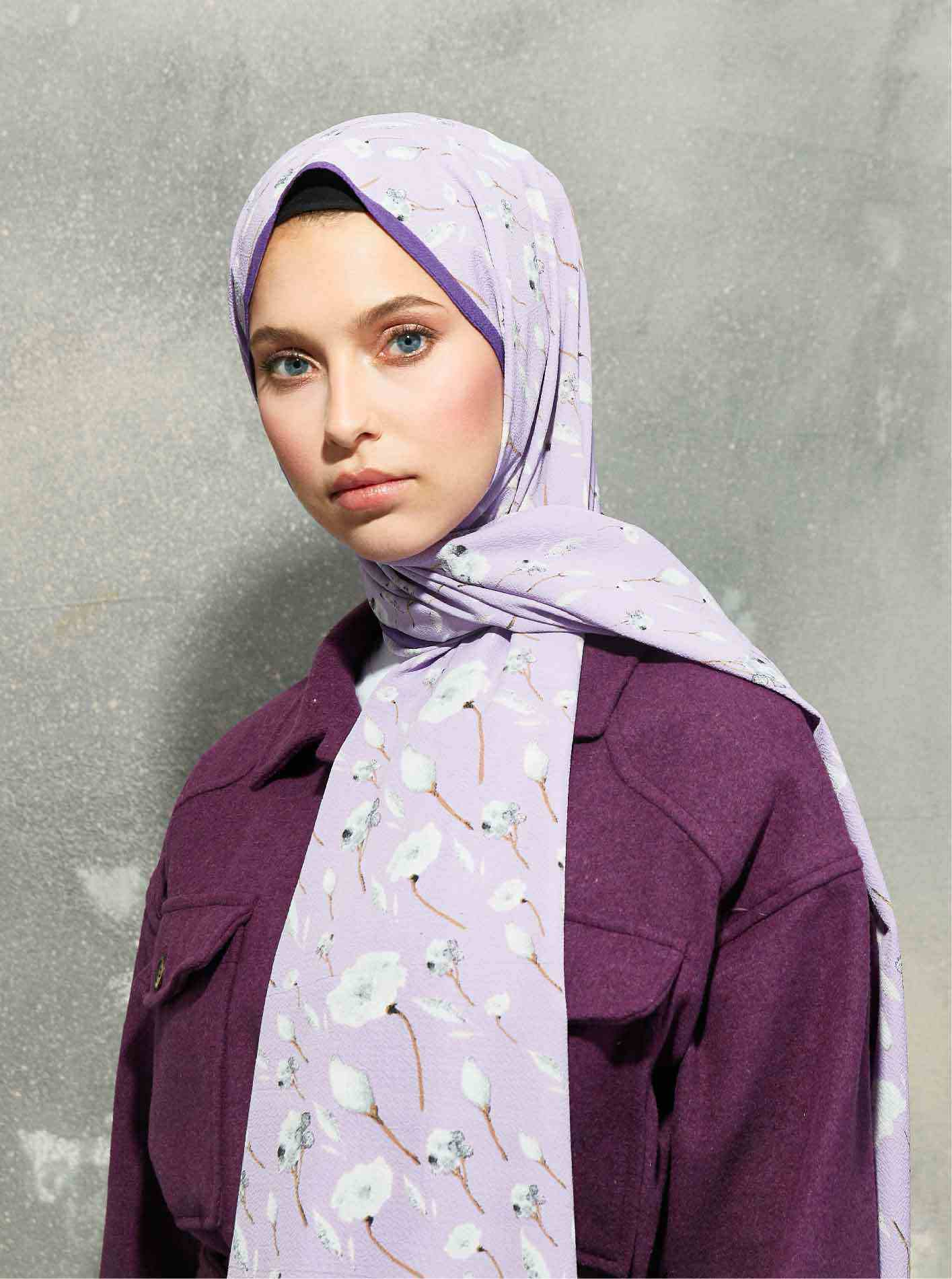 Flora Series Roses Patterned Shawl Purple