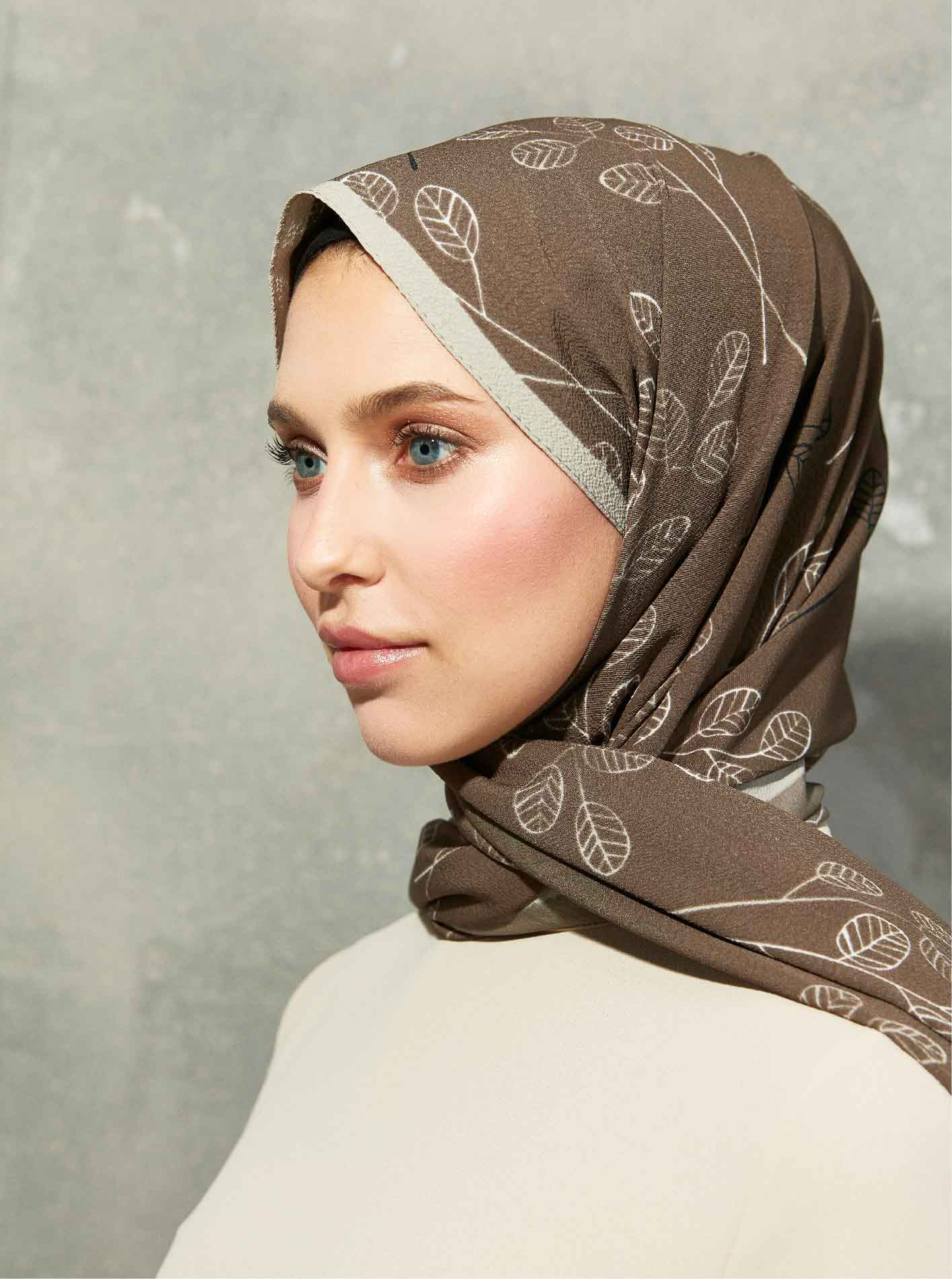 Flora Series Twigs Leaves Patterned Shawl Brown