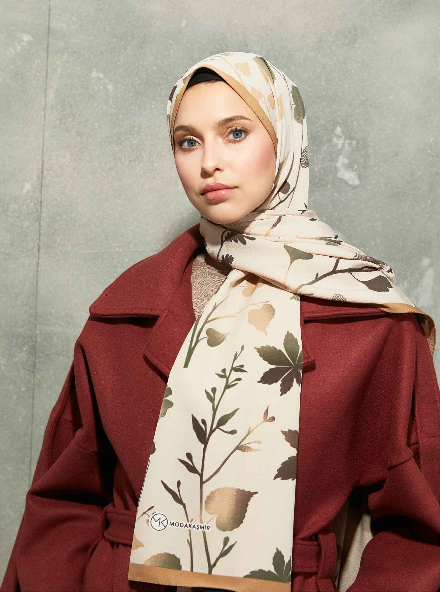Flora Serisi Autumn Branches Patterned Shawl Mink