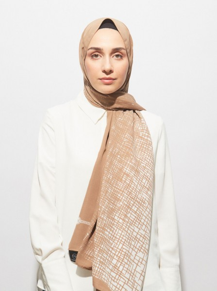 Pearl Series Mink High Line Patterned Shawl - Thumbnail