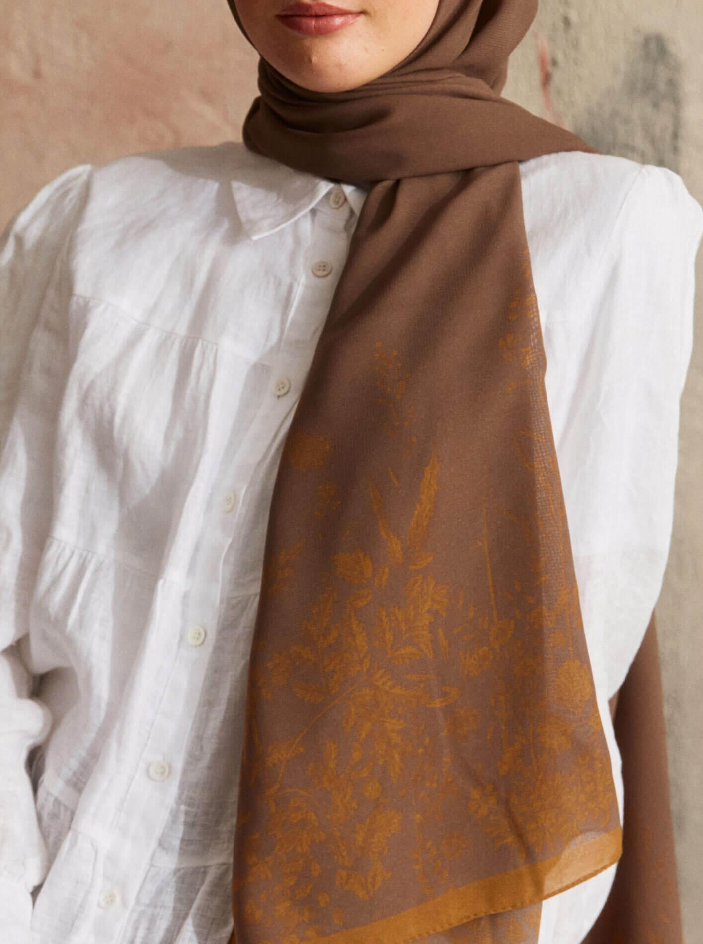 Touch Medina Silk Autumn Patterned Brown
