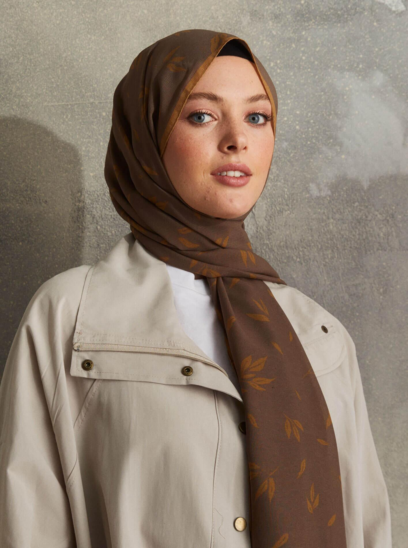Touch Medina Silk Calico Patterned Brown