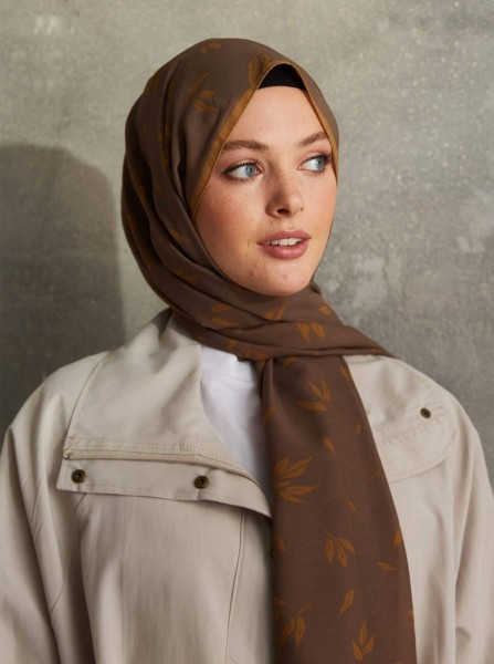 Touch Medina Silk Calico Patterned Brown - Thumbnail