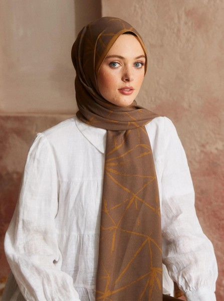 Touch Medina Silk Crunch Patterned Brown - Thumbnail