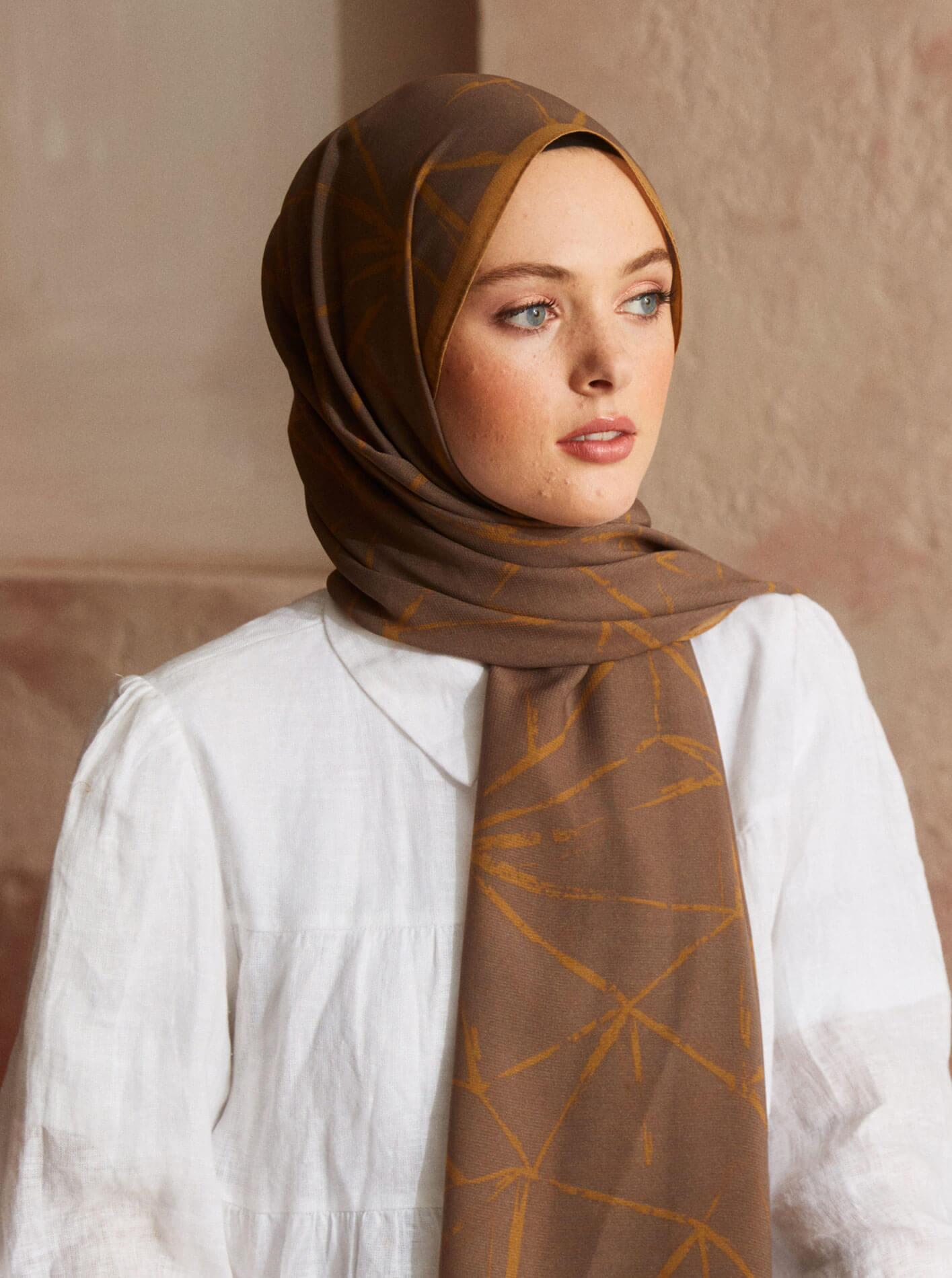 Touch Medina Silk Crunch Patterned Brown