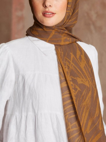 Touch Medina Silk Doodle Patterned Brown - Thumbnail