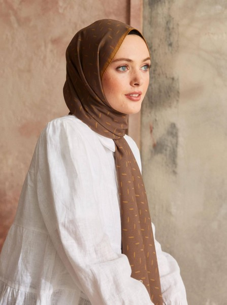 Touch Medina Silk Pure Patterned Brown - Thumbnail