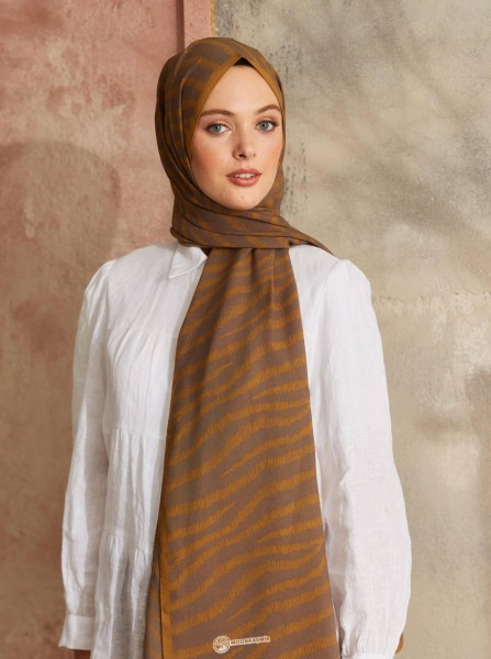 Touch Medina Silk Wave Patterned Brown - Thumbnail